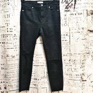 Madewell High Riser Skinny Distressed Black Jeans